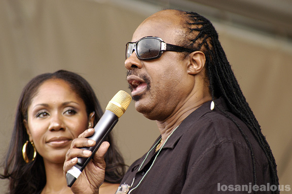 Stevie Wonder with daughter Aisha @ The New Orleans Jazz and Heritage Festival
