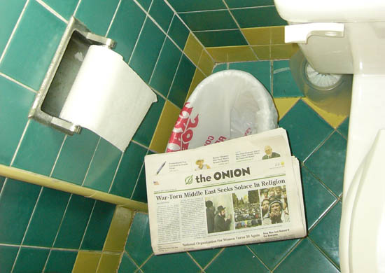 The Onion in my bathrooom, in L.A.