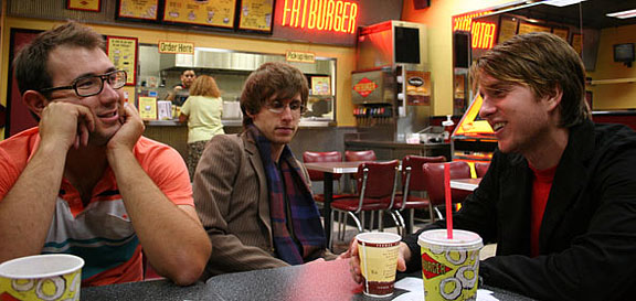 Anthony, Nate and Daniel (L-R) enjoy refreshing beverages at a popular local hamburger shop