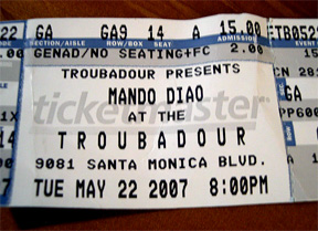 Mando Diao @ Troub: The Ticket Stub