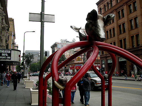 Public Art Revisited: The Pig-Headed Bicycle Rack