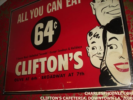 Charles Phoenix's Slide of the Week: Vintage Poster, Clifton's Cafeteria, Downtown Los Angeles, 2008