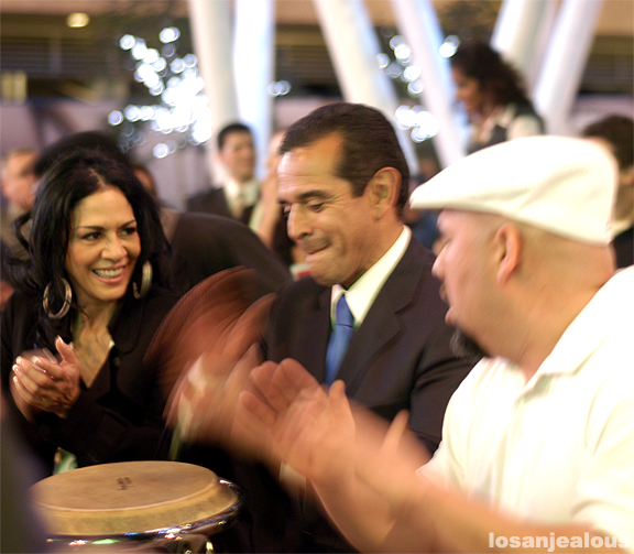 A Photo of Mayor Villaraigosa Jamming On Congas With Sheila E. At LA Live, December 10, 2008