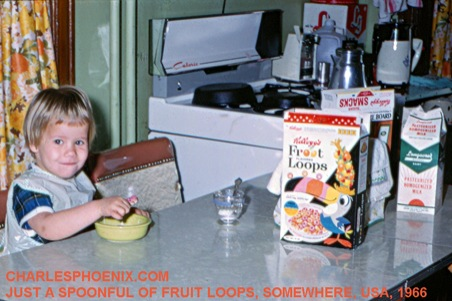 Charles Phoenix's Slide of the Week: Just a Spoonful of Fruit Loops, Somewhere USA, 1966 (Plus Pasadena DooDah Parade Info…This Sunday!)