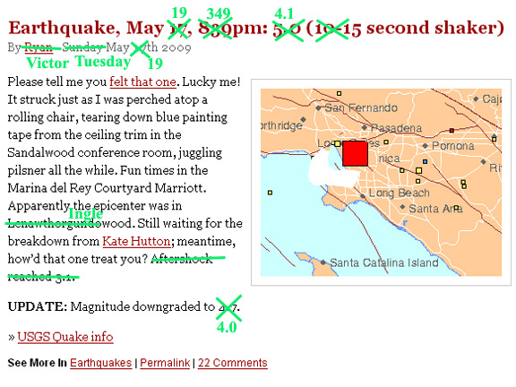 Earthquake, May 19, 349pm: 4.1 (15 second shaker)