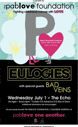 Tonight at Echo: Eulogies Headline Pablove Foundation Benefit Show