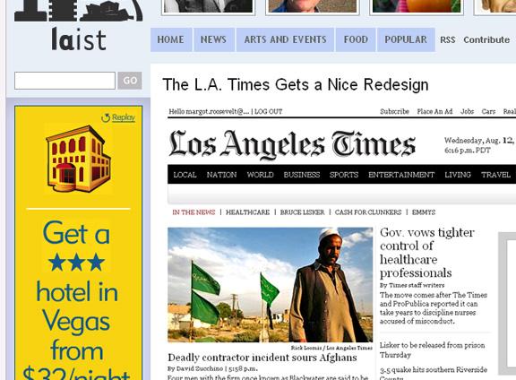 LAist Nod @ LA Times Redesign