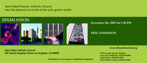 Heads Up: Brian Kwon Solo Guitar Recital Tomorrow, Saturday December 5