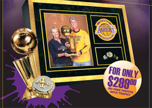 Take Your Photo with the Lakers Trophy in Vegas, $299; Losanjealous Photoshop Job, $199