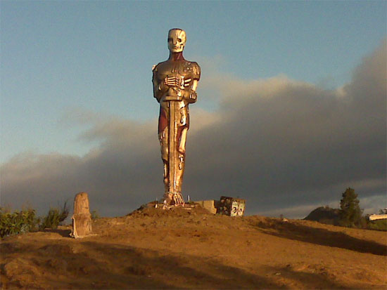 Skeletonized Oscar-esque Statue Spotted at the Top of Runyon