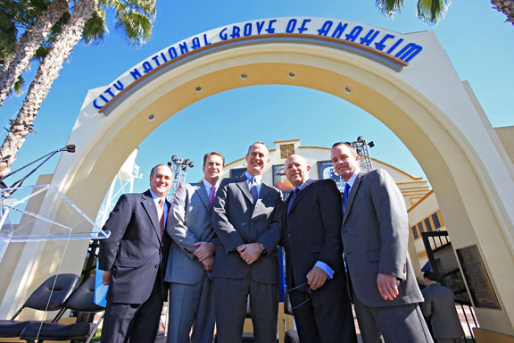 Grove of Anaheim Becomes City National Grove of Anaheim; Five Guys in Suits Approve; Adam Millar Sports Sole Solid-Color Necktie