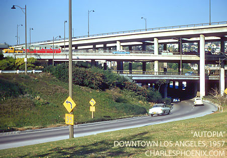"Charles Phoenix's Slide of the Week: ""Autopia"" Downtown Los Angeles, 1957"
