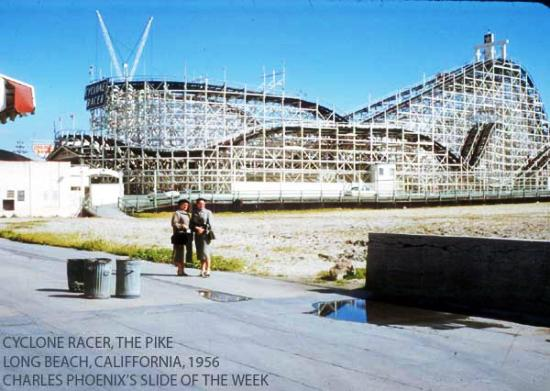 Charles Phoenix's Slide of the Week: Cyclone Racer, The Pike, Long Beach, 1956