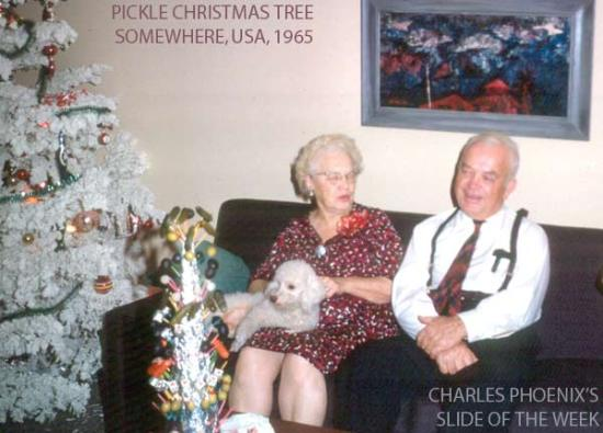 Charles Phoenix's Slide of the Week: Pickle Christmas Tree, 1965